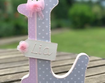 girl wooden letter~shabby chic letter~wooden letter with name~free standing~wall hanging decor~nursery decor~baby shower gift~pink grey