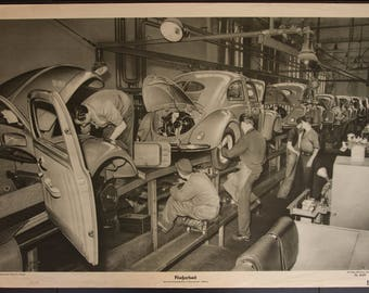 Vintage  Old Print on thick Paper The making of the VW Beetle School Chart