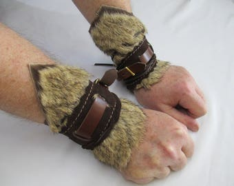 Pair of Unique three layer Browns, Bull Hide Leather, Fur, Cosplay Wrist Bracers (Code BR27)