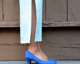 blue suede kitten heels size 38 7