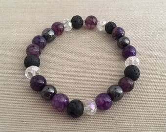 Purple Passion - Aromatherapy Essential Oil Diffuser Bracelet, Lava Beads, Crystal and Hematite