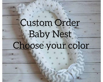 CHOOSE YOUR COLOR Baby double-sided, Stars&zigzag, Baby Nest, babynest, Toddler size, co sleeper, sleepping bed, cot, baby pod, baby bed