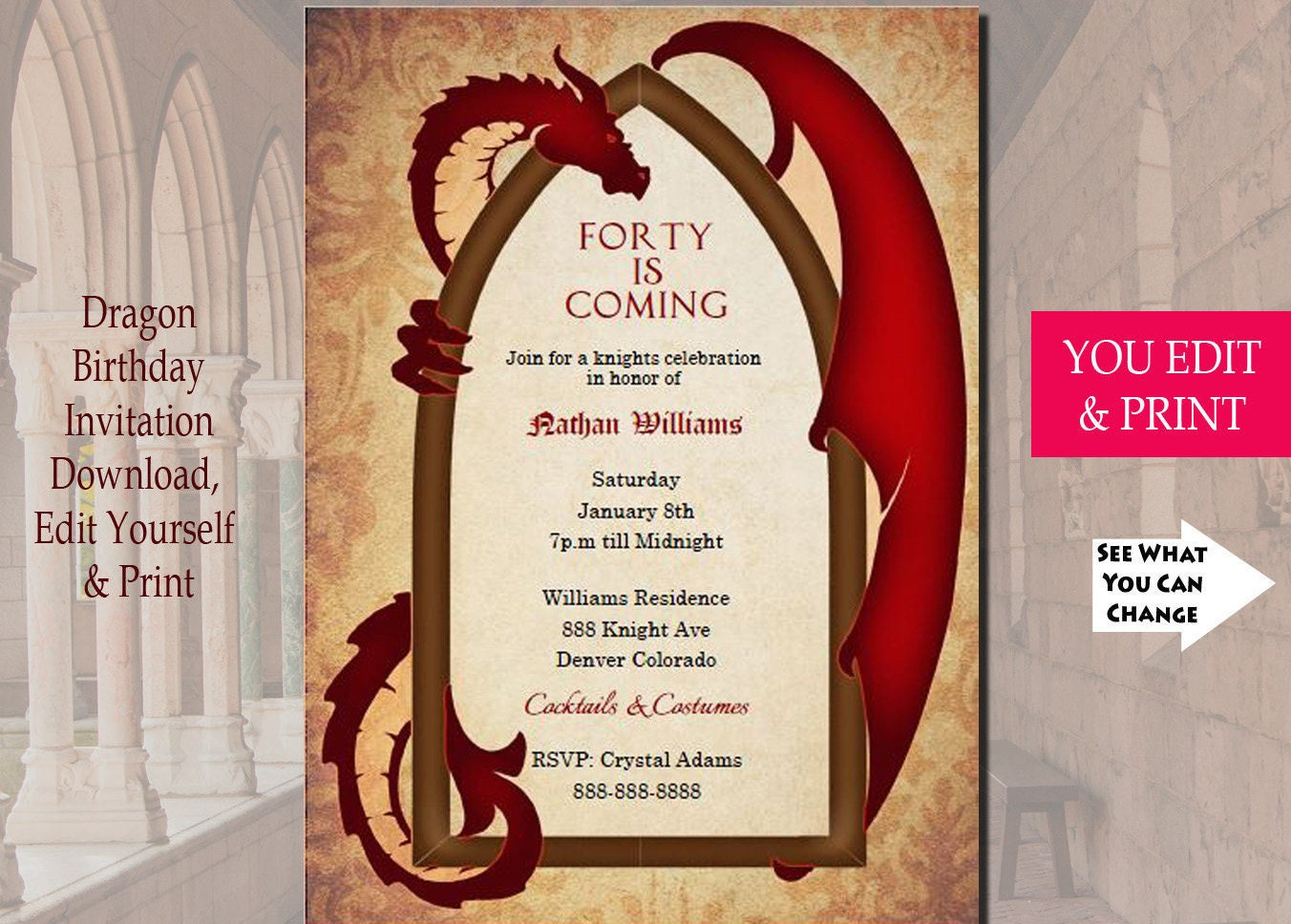 Game of thrones inspired dragon invitation dragon invitation for Game of thrones birthday party