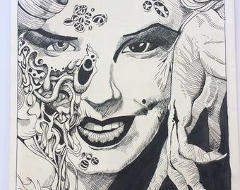 Marilyn Monroe Zombie Creepy Art Poster large jumbo marker drawing ORIGINAL