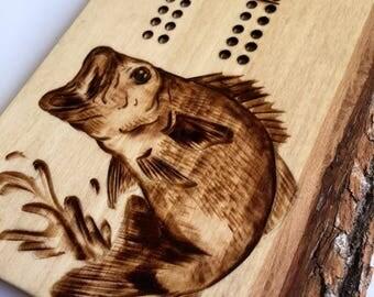 Bass Cribbage Board | handmade, woodburned, custom, fish, card game