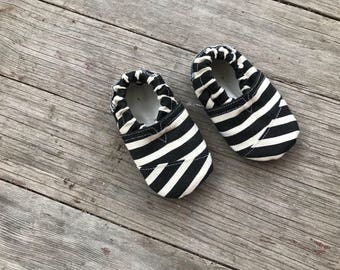 Stripe Toms Inspired Soft Sole Baby Shoe