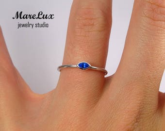 Sapphire Marquise Cut Silver Ring, Synthetic Blue Sapphire Marquise Ring, September Birthstone Ring, Stacking Silver Marquise Sapphire Ring