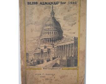 1931 Bliss Almanac, Alonzo O. Bliss Medical Company, Antique Medicines, Health Guide, Lodi, Ohio