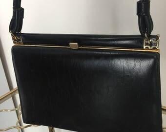 1950s Handbag - Framed Black Leather Vintage Purse - Gold Trim - Mad Men Style - Classic Black Framed Top Handle Purse