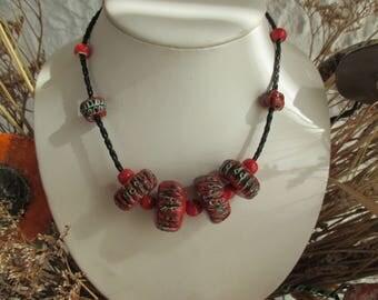 CHOKER - ceramic - handmade - red and black - FRANCE