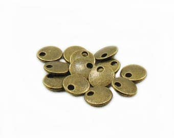 Antique Bronze Simple Charms, 8mm Flat Charms, Round Charm, Metal Charms, Jewelry Making, DIY Craft Supplies