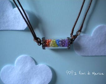 Rainbow necklace with pendant Tube