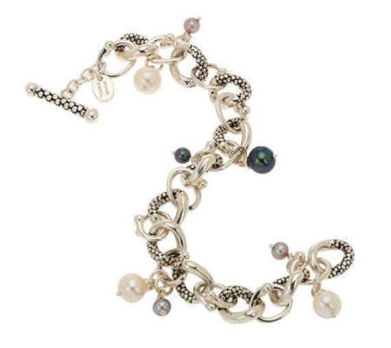 MICHAEL DAWKINS BRACELET ~ Sterling Silver and Pearl Bracelet ~ Natural White, Black and Gray Pearls ~ Toggle Closure ~ Vintage