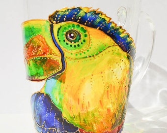 Toucan Mug, Latte Toucan, Toucan, Large mug Animal print Toucan, animal mug
