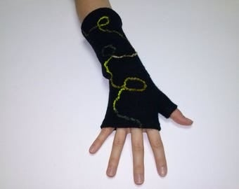 Black boiled wool, decorated with lime green wool mitten.