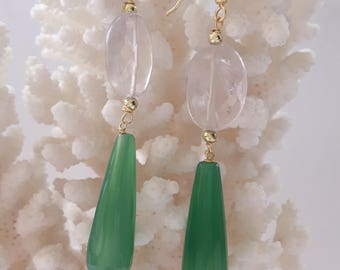 Silver earrings with gemstone drops green agate and Amethyst