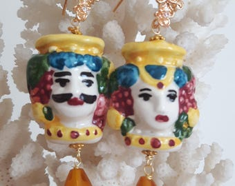 Caltagirone ceramics, drops earrings with citrine