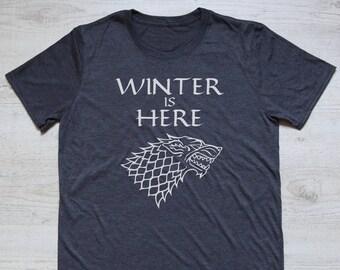Winter is here stark tee t-shirt shirt adult soft triblend vintage house stark sigil tv show tee Game of Thrones shirt heather dark gray