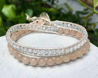 Rose Quartz and Crystal Beaded Wrap Bracelet; Leather Wrap; Beaded Bracelet; Double Wrap; Stacking Bracelet; Layer Bracelet; Chan Luu Style