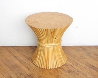 Vintage McGuire Wheat Sheaf Rattan Side Table- Pedestal, Bamboo