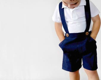 Boys Pants with Suspenders Toddler Shorts with Braces Boys Shorts Baby Linen Pants Page boy outfit Wedding attendant suit