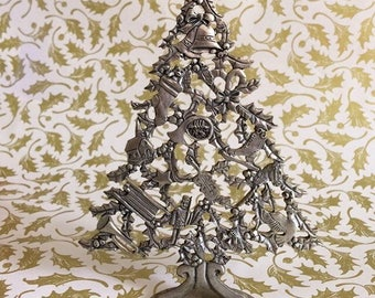 Collectible Pewter Christmas Tree by Seagull Pewter 1987 1980s Vintage