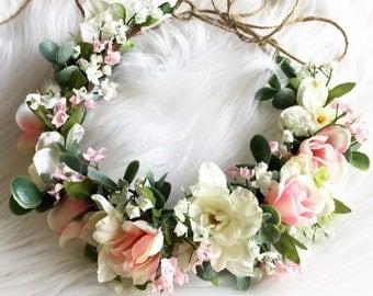 Flower halo / flower crown/ boho / flower crown flowers all the way around / bride / bridesmaide / flower girl