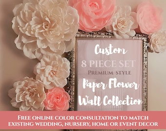 Baby Nursery Paper Flower Wall, Set of 8, Handmade Crepe Paper Flowers, Little Girl Room, Baby Shower Decor & Gift, Premium Style