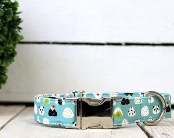 Exclusive Japanese Print - Sushi and Pandas Aqua Dog Collar - Summer 2017