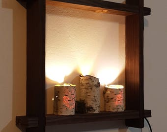White Birch Bark Light Lamp Shelf, Wall Light, Framed Birch Art, Nordic  Style