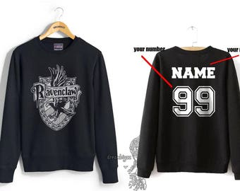 Custom back Ravenc Crest #2 WHITE print on Black Crew neck Sweatshirt