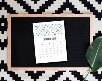 2018 Printable Desk Calendar - Cute 12 Month Printable Calendar - Fun, Tribal, Printable Calendar - Instant Download
