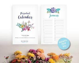 Printable Perpetual Calendar - Watercolor Floral Birthday Calendar - Editable Anniversary Calendar - Eternal Planner - Instant Download PDF