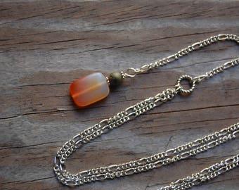 Red Aventurine & Unakite Genuine Gemstone Y Necklace