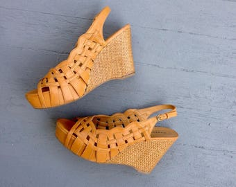 Retro Style Wedge Platform Shoes 9 // Wicker Heel Open Toe 9.5 // Woven Look Toe Peep High Heel