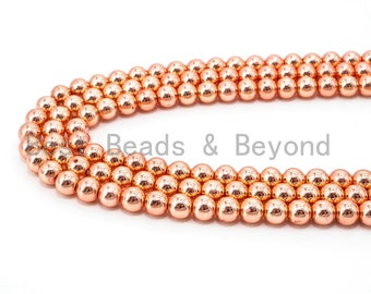 Natural Rose Gold Hematite Beads, 3mm/4mm/6mm/8mm/10mm/12mm Round Smooth, 15-16inch Full Strand-Bright Rose Gold Beads, SKU#S2