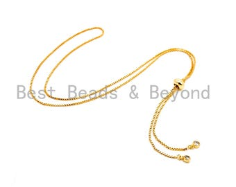 "1pc/5pc Sliding Adjustable Continuous Necklace Making Chain, half-finished Necklace, Rubber stopper beads, Pendant Box Chain, 12"" Drop,#P24"