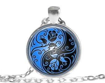 Yin Yang Necklace, Blue Floral Ying Yang Pendant, Yoga Teacher Gift, Friendship Jewelry, Gifts for women