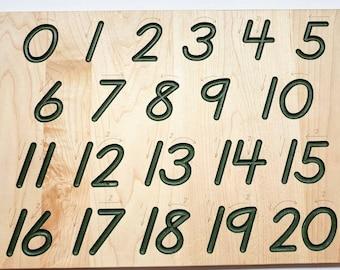 Number tracing board - Montessori math toy - Math manipulative - Math gift - Christmas gift