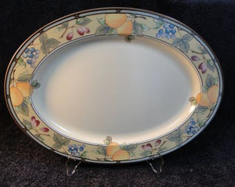 "Mikasa Garden Harvest Large Oval Serving Platter 15"" CAC29 EXCELLENT!"