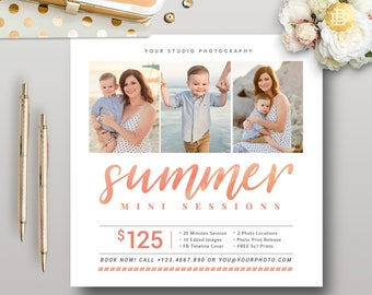 Summer Mini Session for Photographer, Photography Mini Session Marketing Template, Summer Photography Template Card - INSTANT DOWNLOAD MS024
