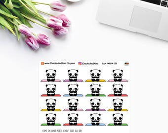 Amanda The Panda ~ YOGA / MEDITATION ~ Planner Stickers CAM PaNDA 035