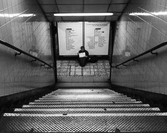 London Photography, London Underground, Stairway Print, Symmetry Print, Black And White Print, Homeless, Beggar, Tramp, London Tube Print