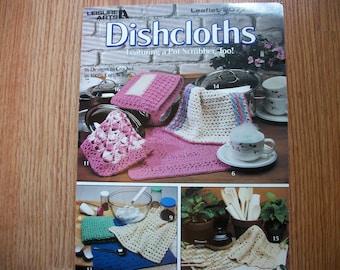 Crochet Dishcloths, featuring a pot scrubber pattern too!, crochet pattern, 16 crochet designs, Leisure Arts 1991, dishcloths, Leaflet 2077