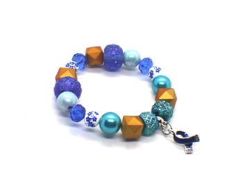 Colon Cancer Survivor - Arthritis Bracelet - Colon Cancer Jewelry- Colorectal Cancer - Huntingtons Disease - Dark Blue Awareness Bracelet
