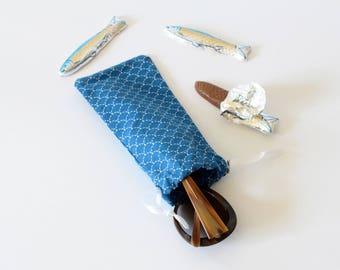 Eyeglasses case , blue sun glasses case , soft glasses cases made , soft case , blue , scale prints , holidays gift, nautical , soft case