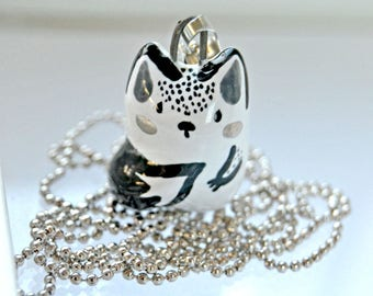 Norwegian Forest Cat Necklace, Unique Cat Lover Gift, Adorable Ceramic Animal Jewelry, Black and White with Platinum Cheeks
