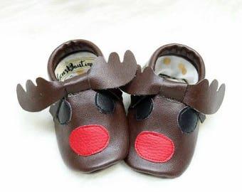 Reindeer Moccs, Baby Moccs, Baby Moccasins, Christmas Moccs.