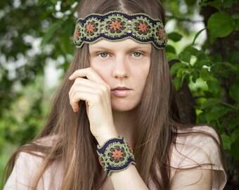 Crochet PATTERN Bracelet Headband Jewelry Set - Boho Chic Festival  - Multicolor Wide Wrist Cuff - PDF Pattern