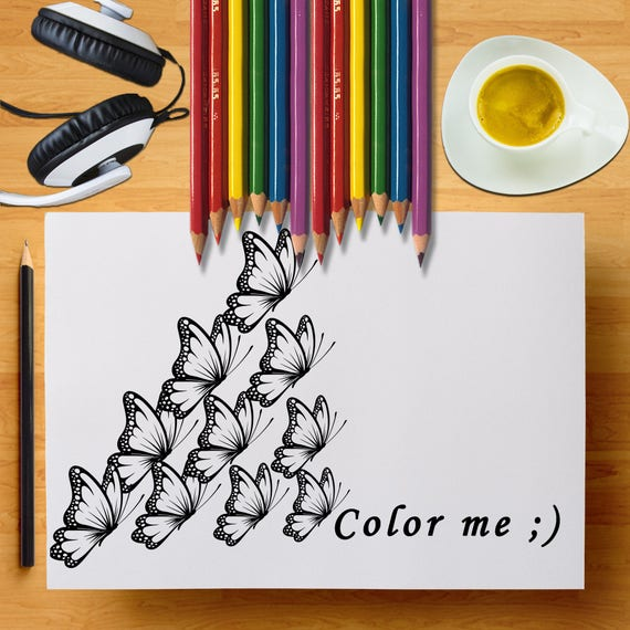Color Me, Coloring Butterflies, Coloring Page Of Butterflies, Color In Butterflies, Flying Butterflies, Butterflies Art, Kids Coloring Sheet